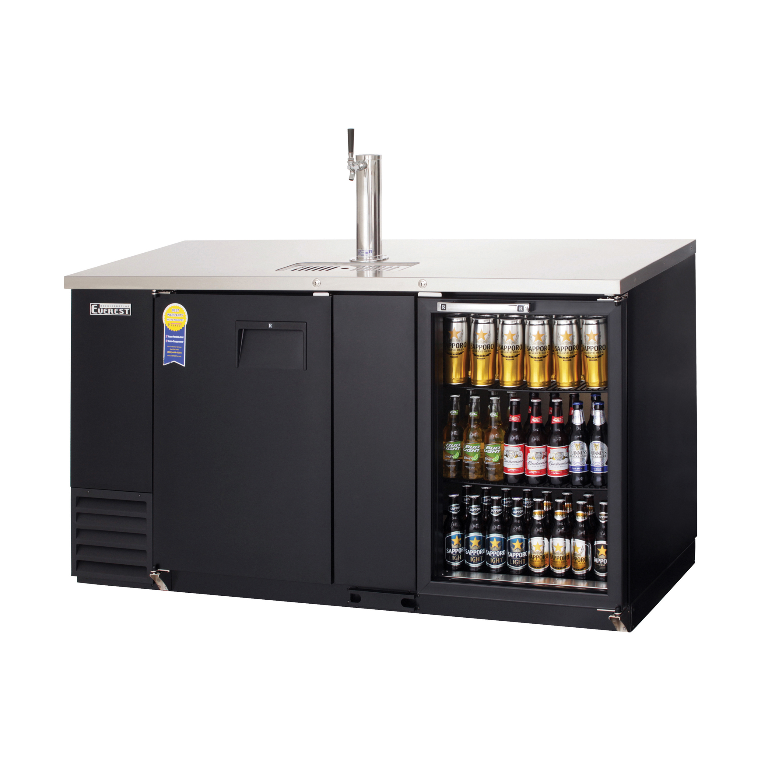 Everest Ebd3 Bbg 68 2 Door Solid Glass Combo Back Bar Amp Direct Draw Keg Refrigerator Mega Restaurant Supply